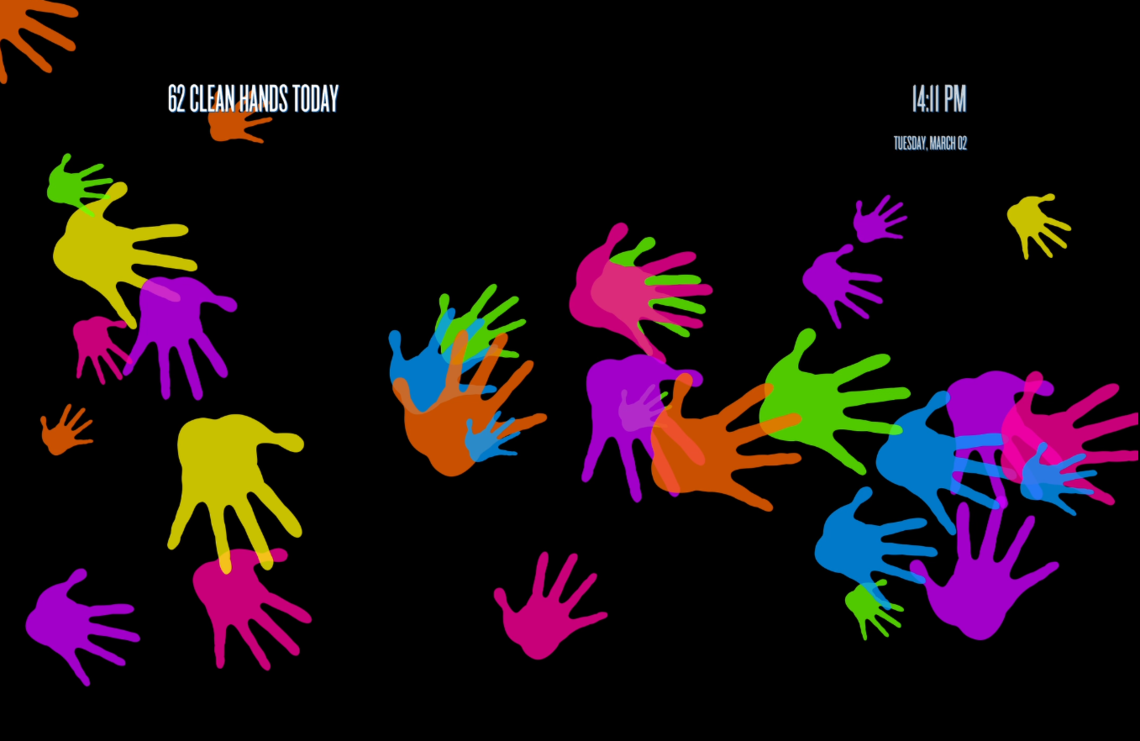 Colourful hands on computer screen