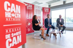The Honourable Mary Ng, Minister of Small Business and Export Promotion, Dr. Dante Morra, Lead, CAN Health Network, and Chief of Staff, Trillium Health Partners, and Dr. Deepak Kaura, Lead, CAN Health West Network.